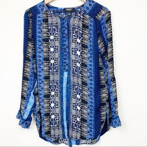 Nine West Blue Patterned Top Long Sleeve Blouse